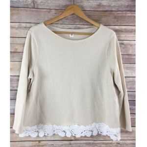 Gap Ballet Neck Sweatshirt Crochet Trim Womens